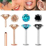 Color DIAMOND Cartilage, Labret, Nose Stud / Earring - 18G Flat Back Push-In