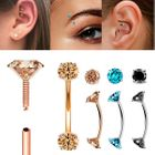 Color DIAMOND Internally Threaded Curved Barbell for Rook, Eyebrow, Daith