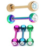 316L COLORFUL Anodized Gem Tongue Ring Barbells (Pack of 5)