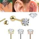 DIAMOND 14K Gold 18G Single Earring - Cartilage, Tragus, Conch