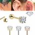 DIAMOND 14K Gold Ball Back Single Earring for Cartilage, Tragus, Helix, Conch, Earlobe - 18G