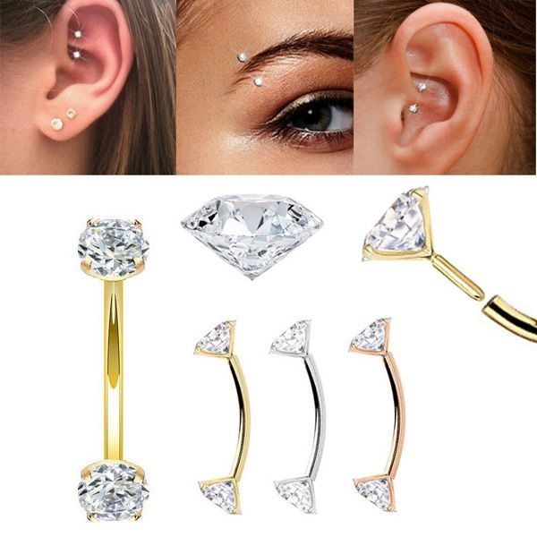 14k Solid White Gold Rook,Eyebrow Pircing 3 Bezel Stone Curved Barbell..16g..8mm