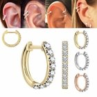 DIAMOND 14K Gold Cartilage Helix Huggie Hoop Single Earring