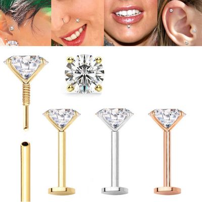 14K Gold Threaded 18G Flat Back Stud with Easy Guide Pin