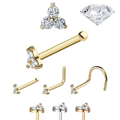 DIAMOND Trinity Nose Stud - 20G