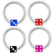 316L Dice Captive Ring (14 and 16G)