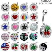 316L Swarovski Pave Logo Belly Button Ring Collection