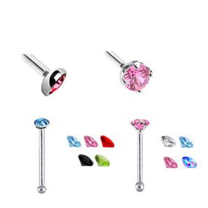 Sterling Silver Bezel and Prong Setting Nose Studs (Pack of 9)