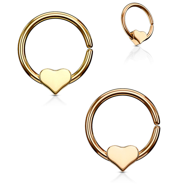 Annealed 316l Hoop Ring With Rotating Heart For Cartilage