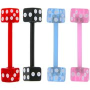 Flexible Sportsman Dice Tongue Ring Barbell