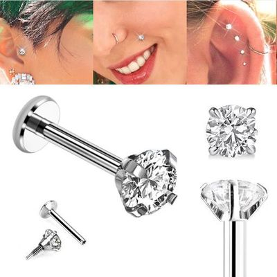 G23 Solid Titanium 16 Gauge Internal Threaded Prong-Setting CZ Monroe, Cartilage, Helix, Tragus, Labret