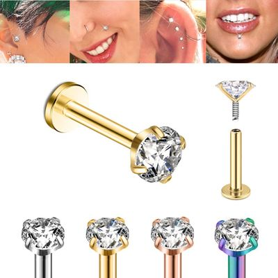 G23 Solid Titanium 16G Internally Threaded CZ Stud for Cartilage, Helix, Tragus, Labret, Monroe