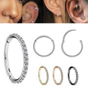 G23 Titanium 20G CNC Pave Clicker Ring - Nose, Cartilage, Earlobe