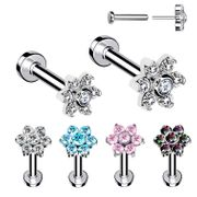 G23 Titanium Flower Threadless Bend-To-Fit Push-In Flat Back Stud
