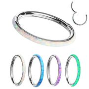 G23 Titanium Seamless Opal Inlay Clicker Ring
