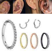 G23 Titanium Seamless Pave Clicker Ring - Helix, Rook, Earlobe, Conch