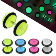 Pair of Glow in the Dark Fake Plug Earrings with O-Ring