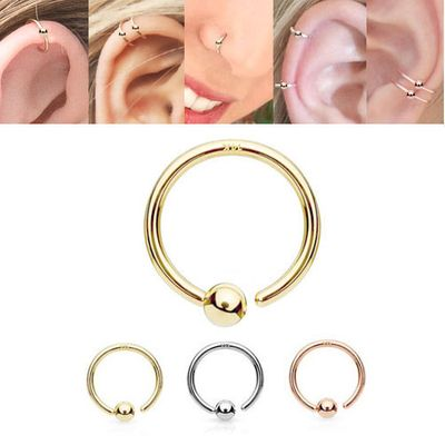 14K Gold Fixed Ball Hoop - Nose, Cartilage, Eyebrow, Daith, Rook