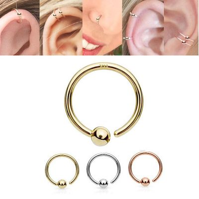 14K Gold Fixed Ball Hoop Ring for Nose, Eyebrow, Daith, Cartilage