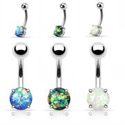 Opal Prong-Setting Belly Button Ring