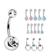 e0f14c039 Mix & Match Double Gem Belly Button Ring - Swarovski