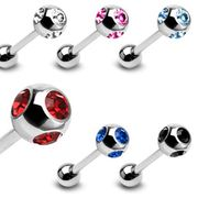 316L Surgical Steel Quad-Gem Tongue Ring Barbell