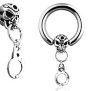 316L Skull Captive Ring with Handcuff
