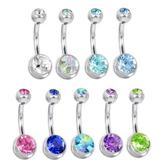 Swarovski Crystal Double Gem Belly Button Ring