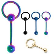 316L Anodized Doorknocker Barbells with Removable Hoop (Pack of 4)