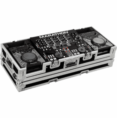 "MARATHON ® FLIGHT ROAD CASE ™ CASE MA-CDJ19W ™ Coffin Holds 2 x SMALL FORMAT CD Players: Pioneer CDJ-200, CDJ-400, Denon DN-S1000, DN-S1200, Numark players plus 19"" MIXER with low profile wheels: Holds mixers up to 8U rack space"