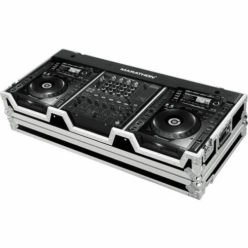 "MARATHON ® FLIGHT ROAD CASE ™ CASE MA-CDJ2K12W ™ Coffin holds 2 x Large format CD players: Pioneer CDJ 2000 plus 12"" mixer DJM800, Behringer DJX-750, DDM-4000, Denon DN-X1500, DN-X1100, DN-X1700 with low profile wheels"