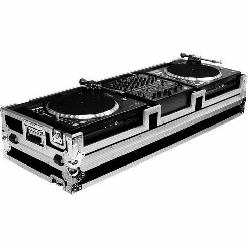 """MARATHON ® FLIGHT ROAD CASE ™ CASE MA-CDT12W ™ MIXER & CD / TURNTABLE COFFIN HOLDS 2 X GEMINI CDT-05 CD TURNTABLE CD PLAYER PLUS 12"""" MIXER WITH LOW PROFILE WHEELS"""