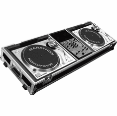 "MARATHON ® FLIGHT ROAD CASE ™ CASE MA-DJ10W - STANDARD ™ Holds 2 Turntables in STANDARD position with 10"" mixer with low profile wheels: holds 10"" mixers such as: Rane TTM56, TTM57SL, Numark DXM models, Vestax, Gemini, Behringer, Denon DN-X100,"
