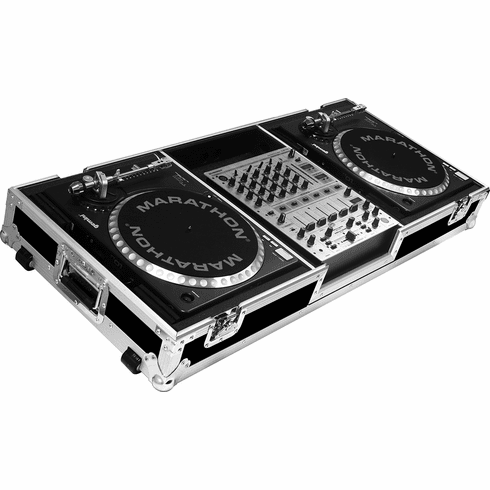 "MARATHON ® FLIGHT ROAD CASE ™ CASE MA-DJ12W - BATTLE ™ Holds 2 Turntables in BATTLE STYLE position with 12"" mixer with low profile wheels: holds 12"" mixers such as: Pioneer DJM-800, DJM-700, DJM-600, Denon DN-X1500, Behringer DDM-4000, DJX-700, Allen & He"