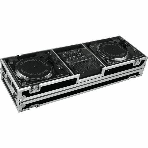 """MARATHON ® FLIGHT ROAD CASE ™ CASE MA-DJ12W - STANDARD ™ Holds 2 Turntables in STANDARD STYLE position with 12"""" mixer with low profile wheels: holds 12"""" mixers such as: Pioneer DJM-800, DJM-700, DJM-600, Denon DN-X1500, Behringer DDM-4000, DJX-700, Allen & He"""