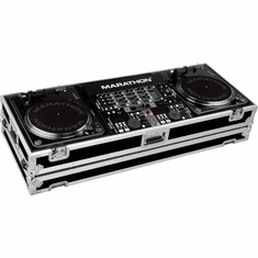 "MARATHON ® FLIGHT ROAD CASE ™ CASE MA-DJ19W ™ Holds 2 Turntables in BATTLE STYLE position with 19"" mixer with low profile wheels: holds 19"" mixers up to 8U rack space"