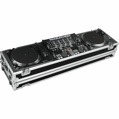 "MARATHON ® FLIGHT ROAD CASE ™ CASE MA-DJ19W - STANDARD ™ Holds 2 Turntables in STANDARD STYLE position with 12"" mixer with low profile wheels: holds 19"" mixers up to 8U rack space"