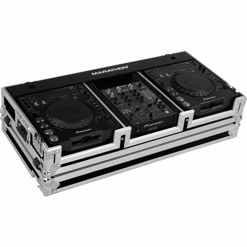"MARATHON ® FLIGHT ROAD CASE ™ CASE MA-DJCD10W ™ Coffin Holds 2 x LARGE FORMAT CD Players: Pioneer CDJ-1000, CDJ-800, DN-S3700, DN-S3500 plus 10"" mixer with low profile wheels. Holds 10"" mixer such as Pioneer DJM-400, Rane TTM-57SL, Numark, Denon DN-X120, DN-X100"