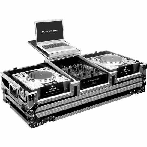 "MARATHON ® FLIGHT ROAD CASE ™ CASES MA-DJCD10WLT ™ Holds 2 x Large format CD players: Pioneer CDJ1000, CDJ800, Denon DN-S5000, DN-S3500, DN-S3700, Stanton C303, 304, 314 and Technics SLDZ1200 + 10"" Mixer with Low Profile Wheels & Laptop Shelf to hold up to"