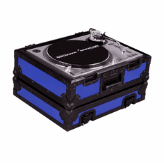 """MARATHON ® FLIGHT ROAD CASE ™ MA-1200BLKBLUE ™ """"BLUE-BLACK Series"""" Heavy Duty Turntable Deluxe Case with Full Removable Cover"""