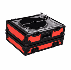 """MARATHON ® FLIGHT ROAD CASE ™ MA-1200BLKRED ™ """"RED-BLACK Series"""" Heavy Duty Turntable Deluxe Case with Full Removable Cover"""
