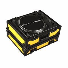 """MARATHON ® FLIGHT ROAD CASE ™ MA-1200BLKYLW ™ """"YELLOW-BLACK Series"""" - Heavy Duty Turntable Deluxe Case fits Technics 1200 & All other brand turntables such as: Numark, Stanton, Gemini, Vestax - Full Removable Cover"""