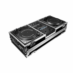 MARATHON ® FLIGHT ROAD CASE ™ MA-2TTRN62W ™ BATTLE STYLE COFFIN HOLDS 2 TURNTABLES IN BATTLE STYLE POSITION WITH A RANE SIXTY-TWO SERATO MIXER W/ LOW PROFILE WHEELS