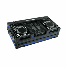 "MARATHON ® FLIGHT ROAD CASE ™ MA-CDI10WBLKBLUE ™ <br>""BLACK-BLUE Series"", Coffin Holds 2 x MEDIUM Format CD Players: American Audio CDI-300, 500, Pioneer CDJ-400, CDJ-200 players + 10"" Mixer: with low profile wheels"