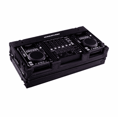 "MARATHON ® FLIGHT ROAD CASE ™ MA-CDI12WBLK ™ <br>""BLACK Series"", holds 2 x MEDIUM Format CD Players: American Audio CDI-300, 500, Pioneer CDJ-400, CDJ-200 players plus 12"" mixer with low profile wheels"