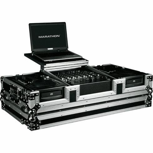 "MARATHON ® FLIGHT ROAD CASE ™ MA-CDI12WLT ™ LAPTOP COFFIN CASE Holds 2 x medium Format CD Players: American Audio CDI-300, 500, Numark ICDX,Gemini CDJ, MPX30, CFX20, Pioneer CDJ100, CDJ200, CDJ400, Denon DN-S1000, DN-S1200, Numark Axis 9 players + 12"" MIXER: Pioneer DJM-600, DJM-800, DJM-300, Behringer DJX700, DDM-4000, Gemini CS02, Denon DN-X1500, Numark 5000FX, Allen & Heath XONE, American Audio MX-1400, MX-1400 DSP with low profile wheels. Plus laptop shelf to hold up to a 15"" laptop."
