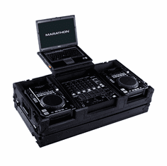 """MARATHON ® FLIGHT ROAD CASE ™ MA-CDI12WLTBLK ™ <br>""""BLACK Series"""" Coffin holds a 2 x Medium Format CD Players: American Audio Radius, CDI-300, 500, Pioneer CDJ-400, CDJ-200 players plus 12"""" mixer with low profile wheels plus Laptop Shelf to hold up to a 17"""" lap"""