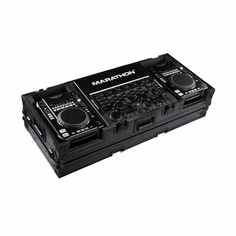 "MARATHON ® FLIGHT ROAD CASE ™ MA-CDI19WBLK ™ <br>""BLACK Series"", holds 2 x MEDIUM Format CD Players: American Audio Radius, CDI-300, 500, Pioneer CDJ-400, CDJ-200 players + 19"" Mixer with low profile wheels: Holds mixers up to 8U rack space"