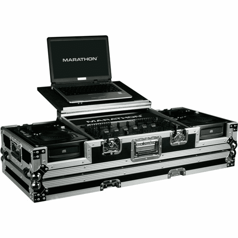 "MARATHON ® FLIGHT ROAD CASE ™ MA-CDI19WLT ™ LAPTOP COFFIN CASE Holds 2 x Medium Format CD Players: American Audio CDI-300, 500, Numark ICDX, Gemini CDJ, MPX30, CFX20, Denon DN-S1000, DN-S1200, Numark Axis 9, players + 19"" MIXER with low profile wheels"