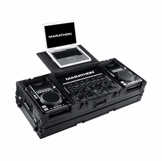"MARATHON ® FLIGHT ROAD CASE ™ MA-CDI19WLTBLK ™ <br>""BLACK Series"" Coffin Holds 2 x Medium Format CD Players: American Audio Radius, CDI-300, 500, Numark ICDX players plus 19"" mixer with low profile wheels plus Laptop Shelf to hold up to a 17"" laptop"